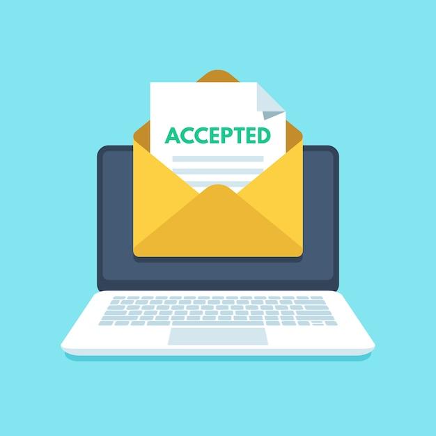 Akzeptierte e-mail im umschlag Premium Vektoren