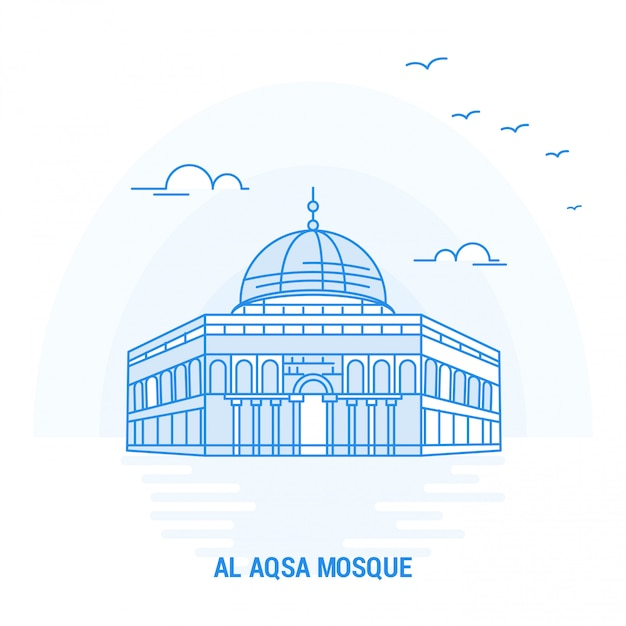 Al aqsa mosque blue landmark Premium Vektoren