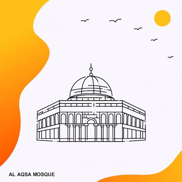 Al aqsa mosque-plakatschablone Premium Vektoren