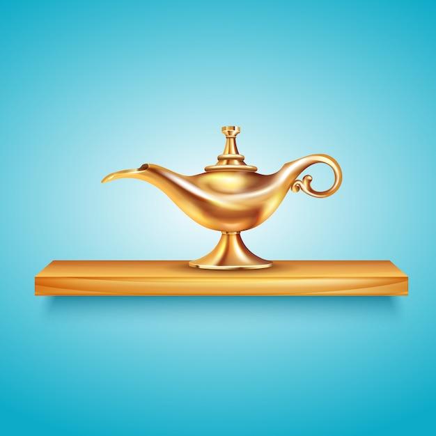 Aladdin-lampenregalzusammensetzung mit umständlichem bild des goldenen schiffes auf hölzernem regal auf blauer hintergrundvektorillustration Premium Vektoren