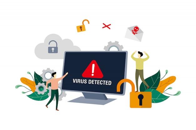 Alarmmeldung über erkannten virus, identifizierung von computerviren, hacking der sicherheit mit kleinen leuten Premium Vektoren