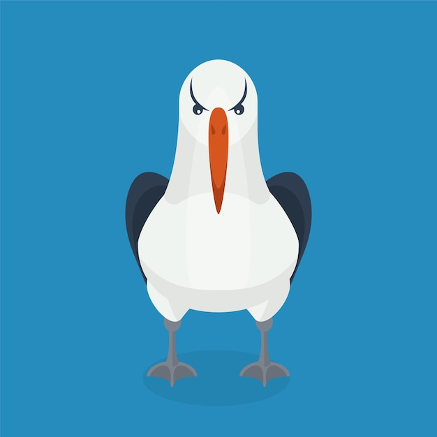 Albatrosvogel sitzt alleine. Premium Vektoren