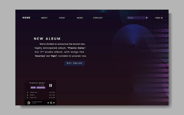 Album-release-website-design Kostenlosen Vektoren