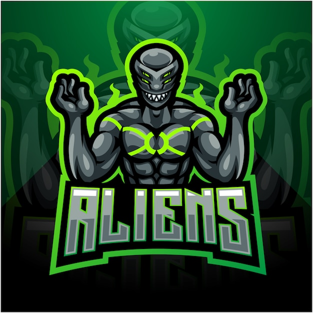 Alien esport maskottchen logo design Premium Vektoren