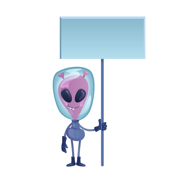 Alien hält leere banner flache design-cartoon-illustration Premium Vektoren