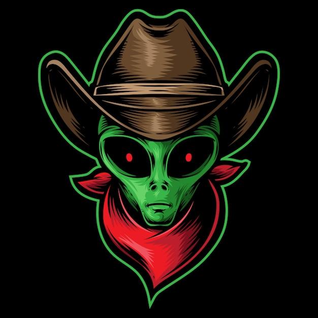 Alien kopf cowboy Premium Vektoren
