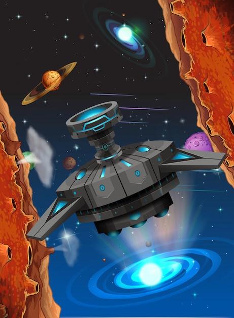 Alien schiff in der weltraumszene Premium Vektoren