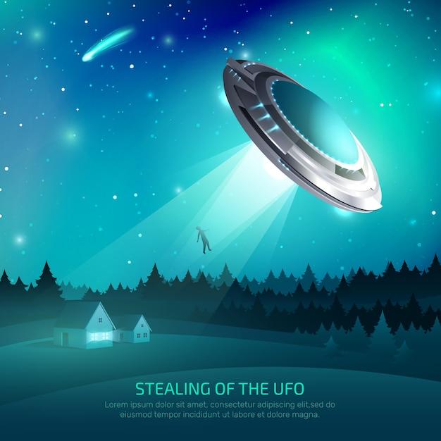 Alien spacecraft kidnapping poster Kostenlosen Vektoren