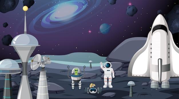 Alien- und astronautenszene Kostenlosen Vektoren