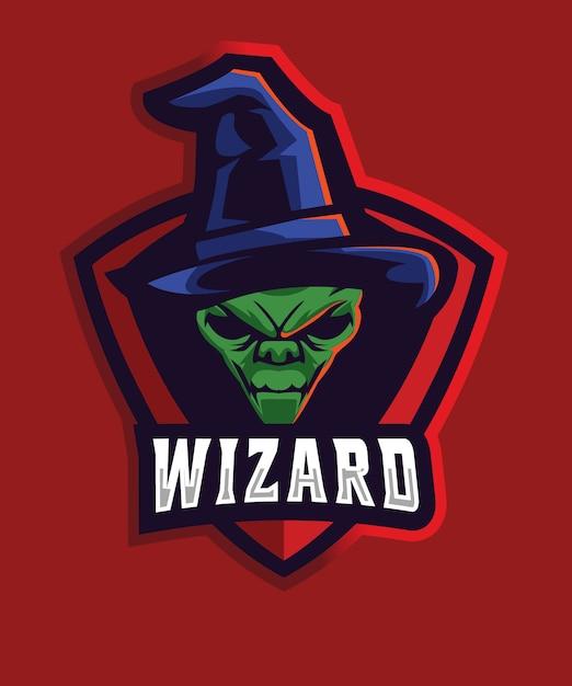 Alien wizard e sports-logo Premium Vektoren