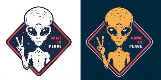 Alien zeigt friedenszeichen-etiketten gesetzt Kostenlosen Vektoren