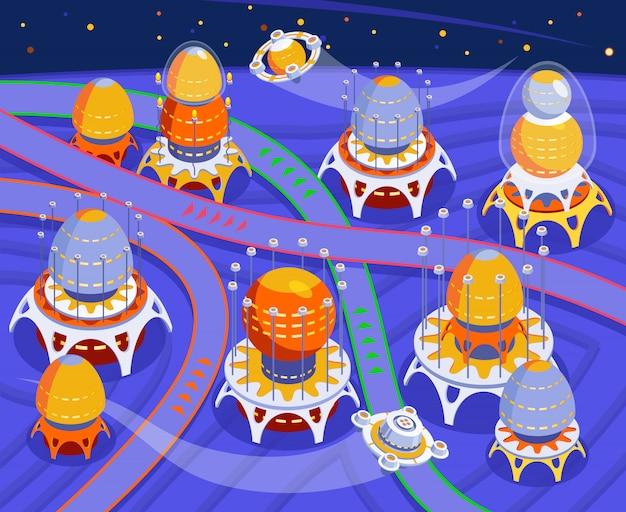 Aliens farbige komposition mit abstraktem raum und stadt der aliens und blauen hintergrundillustration Kostenlosen Vektoren