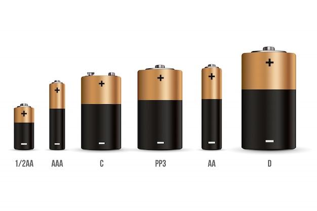 Alkalibatteriesatz mit unterschiedlicher größe. Premium Vektoren