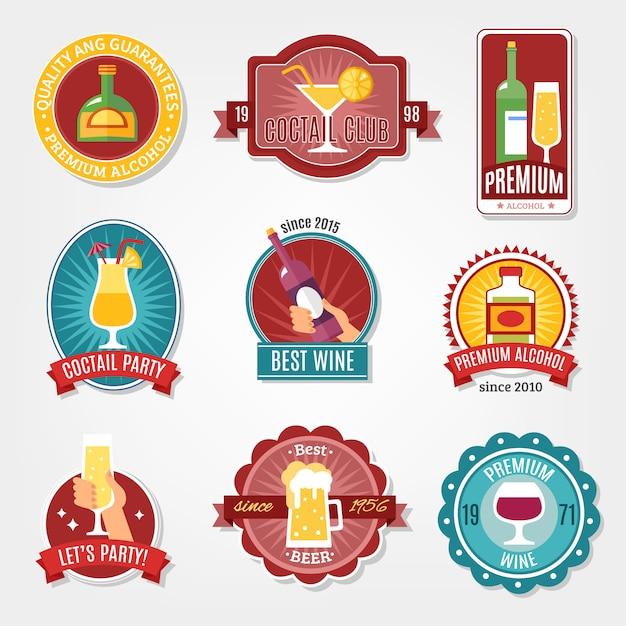 Alkohol etiketten set Kostenlosen Vektoren