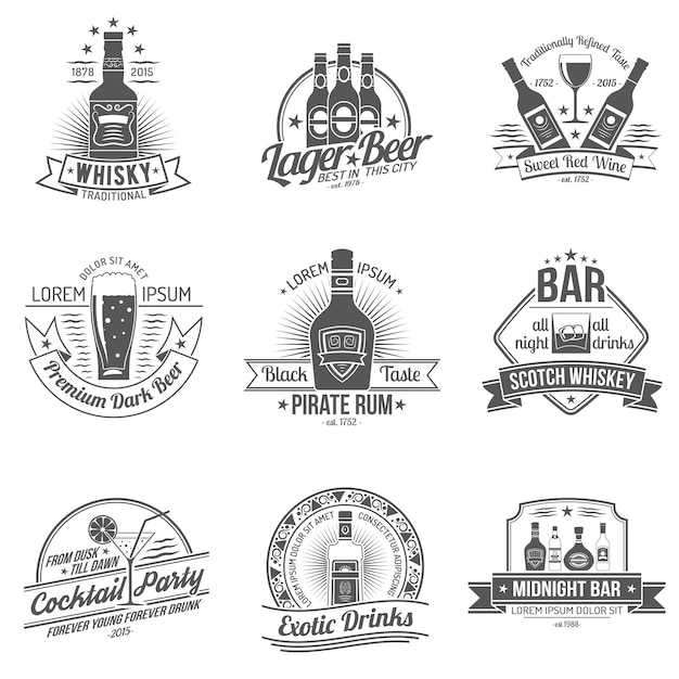 Alkohol etikettenset Kostenlosen Vektoren