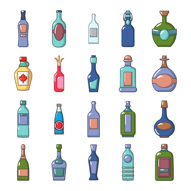 Alkohol flasche icon set. karikatursatz der alkoholflaschenvektor-ikonensammlung lokalisiert Premium Vektoren
