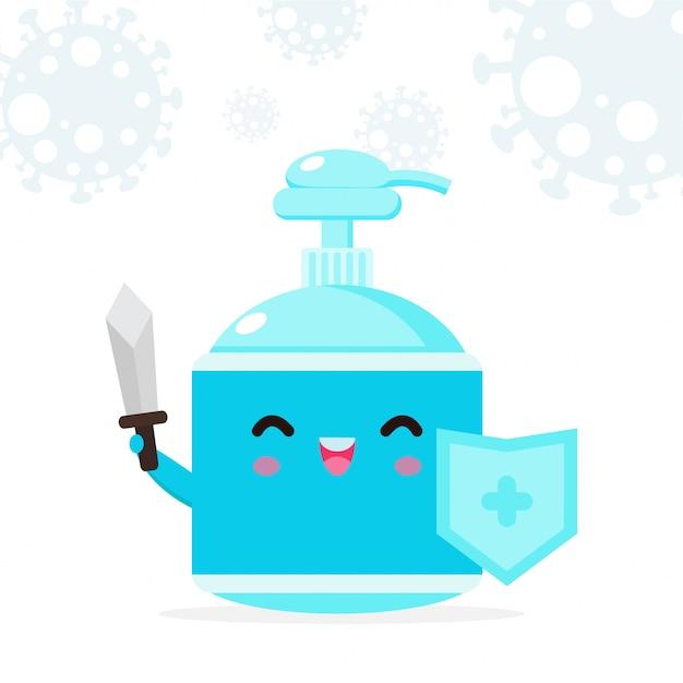 Alkohol gel niedlichen charakter. handwaschgel, krankheitspräventionskonzept und schutz gegen viren und bakterien, gesunder lebensstil lokalisiert auf weißer hintergrundillustration Premium Vektoren