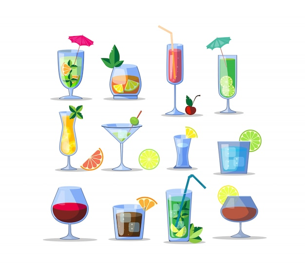 Alkohol getränke icon kit Kostenlosen Vektoren