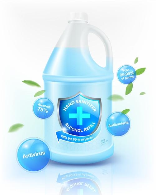 Alkohol händedesinfektionsmittel gallone nachfüllung 75% alkoholbestandteil, tötet bis zu 99,99% für coronavirus (covid-19), bakterien und keime. verpackt in einer klaren weißen zylindrischen gallone. realistische datei. Premium Vektoren
