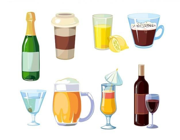 Alkohol und alkoholfreie getränke mit flaschen, gläsern Premium Vektoren