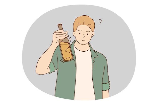 Alkoholabhängig, spirituosengetränke, einsames konzept. Premium Vektoren
