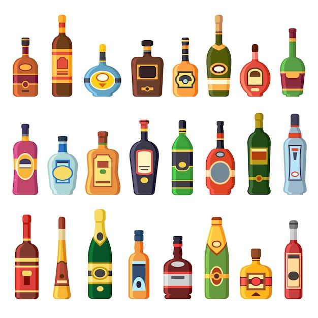 Alkoholflaschen Premium Vektoren