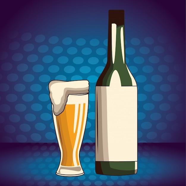 Alkoholische getränke getränke cartoon Premium Vektoren