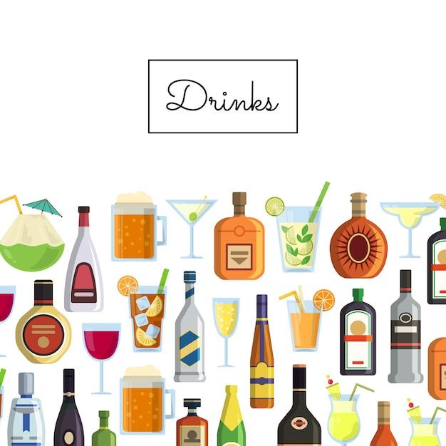 Alkoholische getränke in gläsern und flaschen und mit platz für text Premium Vektoren