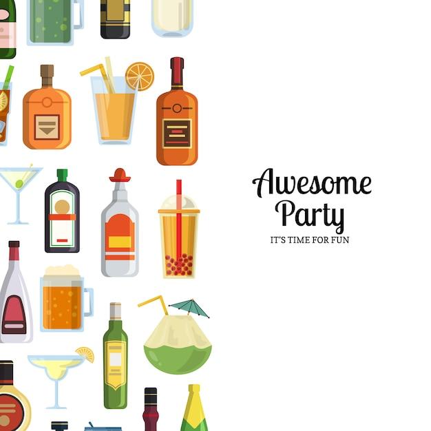 Alkoholische getränke in gläsern und flaschen Premium Vektoren