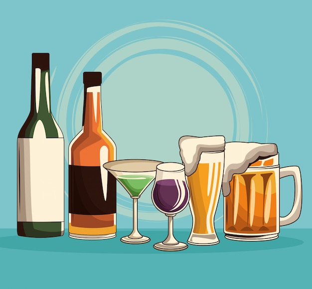 Alkoholische getränke isoliert Premium Vektoren