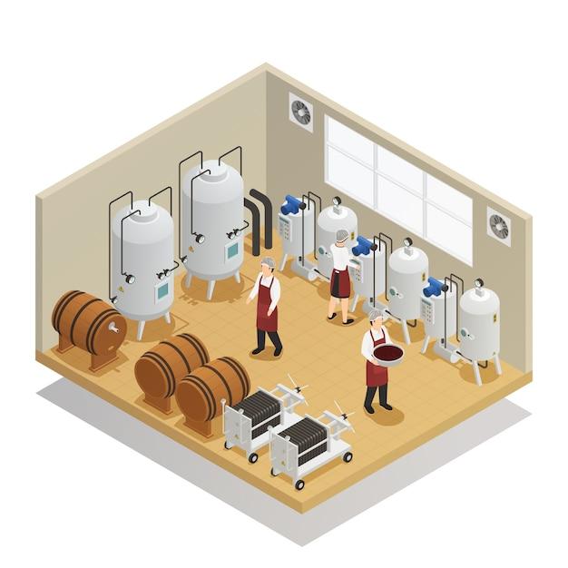 Alkoholische getränke produktion isometrische zusammensetzung Kostenlosen Vektoren