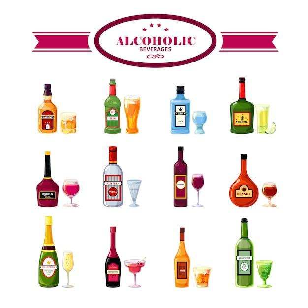 Alkoholische getränke trinkt flache ikonen eingestellt Kostenlosen Vektoren