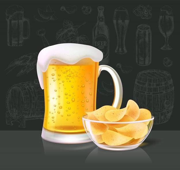 Alkoholisches getränk des bieres im glas mit chips Premium Vektoren