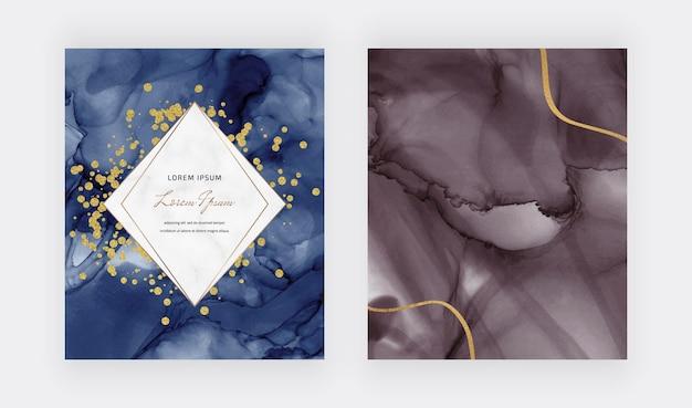 Alkoholtinte textur mit goldenen konfetti, linien und marmorrahmen Premium Vektoren