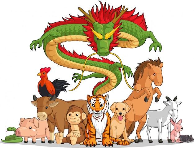 Alle 12 chinesischen tierkreistiere zusammen Premium Vektoren