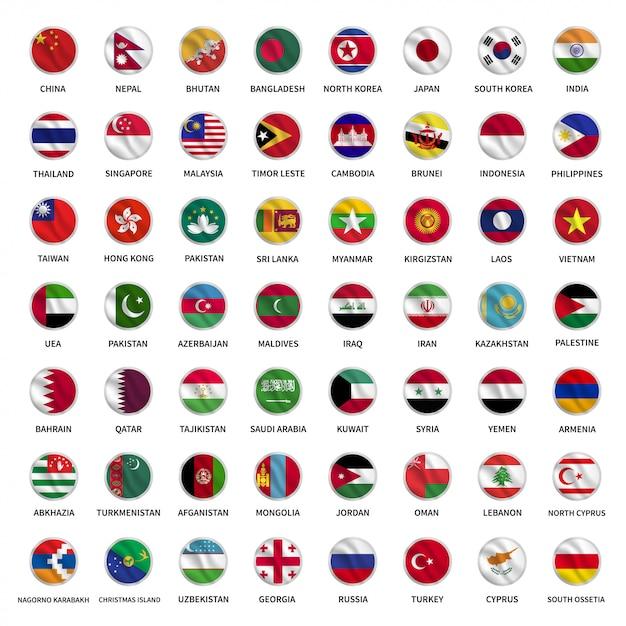 Alle asiatischen landflaggen kreisen im wellenstil Premium Vektoren