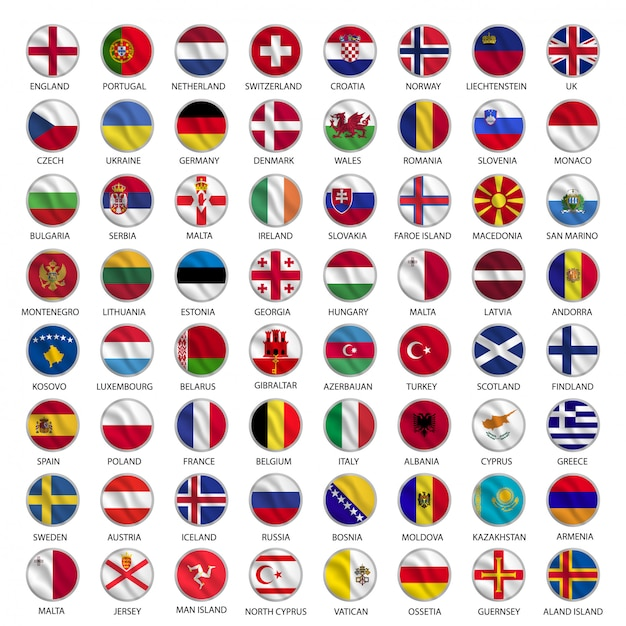 Alle europäischen landesflaggen kreisen im wellenstil Premium Vektoren