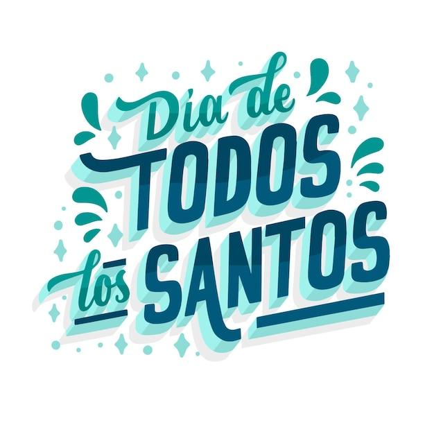 Alle heiligen tag spanische kultur schriftzug Kostenlosen Vektoren