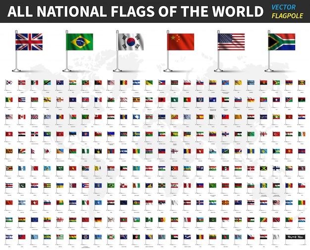 Alle nationalflaggen der welt. realistischer winkender stoff mit fahnenmast Premium Vektoren