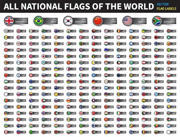 Alle nationalflaggen der welt Premium Vektoren