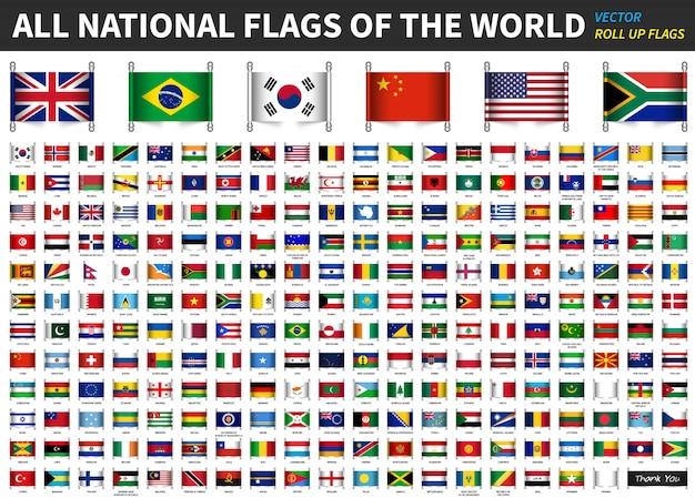 Alle offiziellen nationalflaggen der welt Premium Vektoren