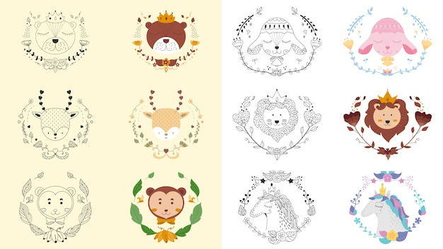 Alle tierischen und floralen niedlichen emblem banner Premium Vektoren