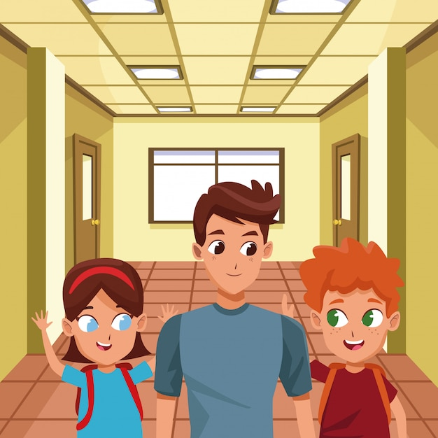 Alleinerziehender familienvater mit kindern Premium Vektoren