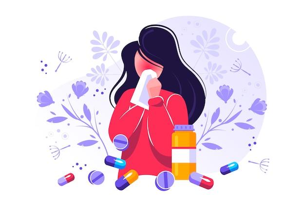 Allergie-illustration. winzige staubasthmatische unverträglichkeit Premium Vektoren