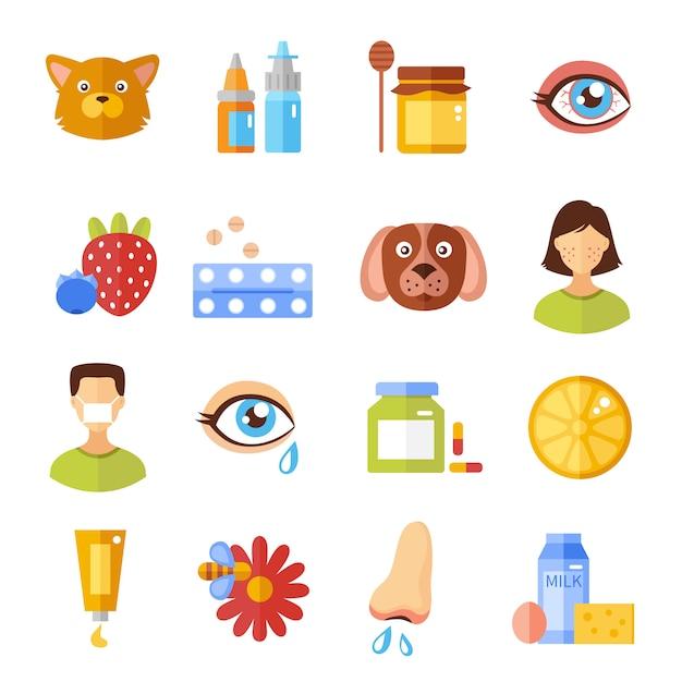 Allergie-typen und ursachen-icons Kostenlosen Vektoren