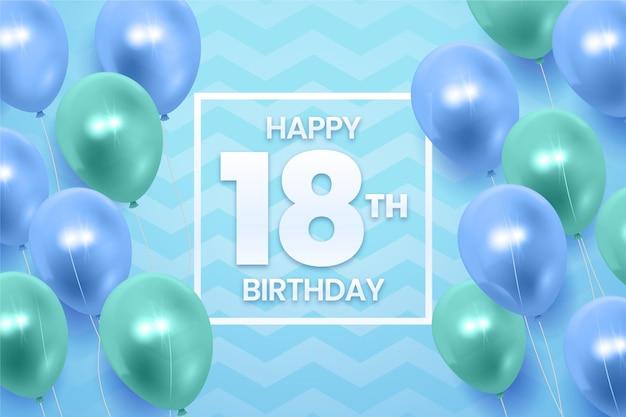 Alles gute zum 18. geburtstag hintergrund mit realistischen luftballons Premium Vektoren