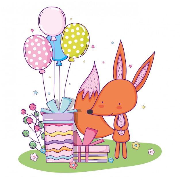 Alles gute zum geburtstag des netten fuchses mit ballonen und anwesendem geschenk Premium Vektoren