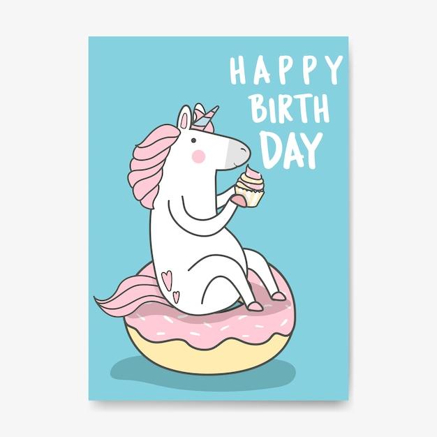 Alles Gute Zum Geburtstag Einhorn Kartenvektor Download Der