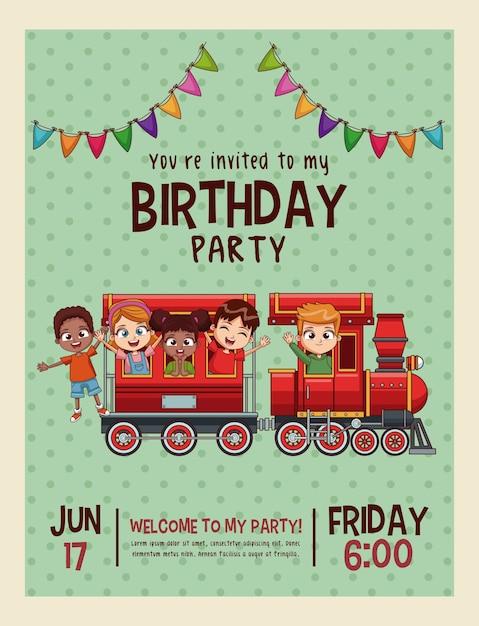 Alles Gute zum Geburtstag Einladung Kinder Karte | Download der ...