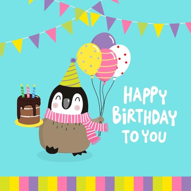 Alles Gute Zum Geburtstag Grusskarte Mit Niedlichen Pinguin Und